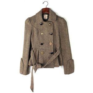 Anthropologie XS Tulle peacoat jacket wool sweater